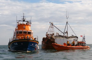 Tynemouth & Cullercoats lifeboats with casualty vessle Trustfull